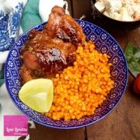 Jollof Cous Cous w/ Honey Glazed Baked Chicken