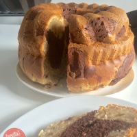 Moist Banana Chocolate Marble Cake