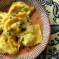 Breadfruit Raviloi w/ Saltfish 'n' Ackee & Coconut Sauce